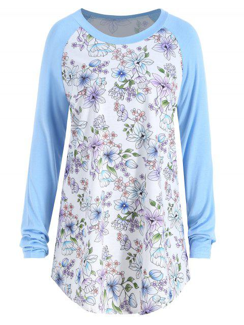 women's Floral Print Raglan Sleeve Plus Size Tee - LIGHT BLUE 2XL Mobile