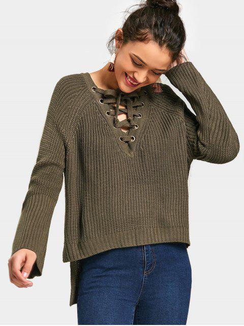 Hoher Nidriger Pullover mit Schnürsenkel und seitlichem Schlitz - Armeegrün Eine Größe Mobile