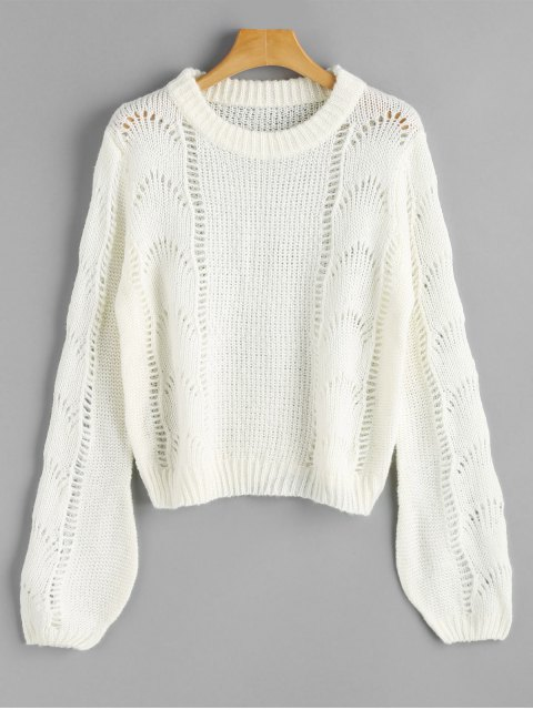 womens Lantern Sleeve Cut Out Pullover Sweater - WHITE ONE SIZE Mobile