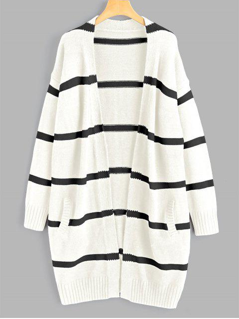chic Drop Shoulder Striped Cardigan with Pockets - OFF-WHITE ONE SIZE Mobile