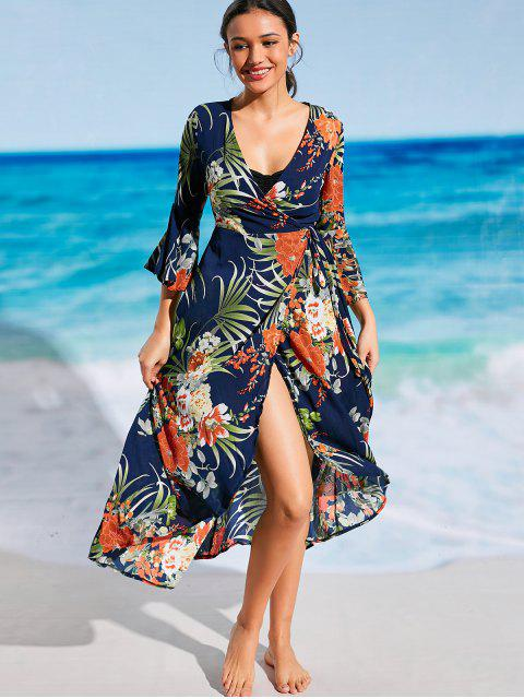 buy Floral Bohemian Wrap Beach Dress - PURPLISH BLUE M Mobile