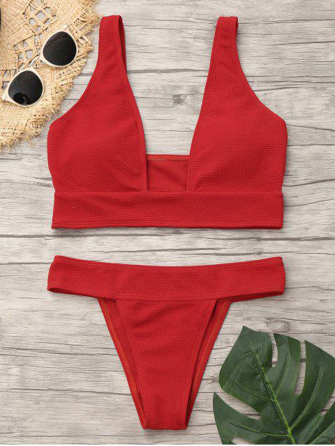 outfits Plunge Neck Low Waist Bikini - RED M Mobile