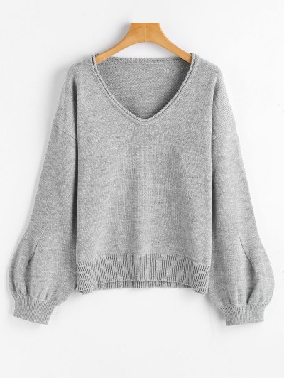 Lantern Sleeve Oversized V Neck Sweater - Gray