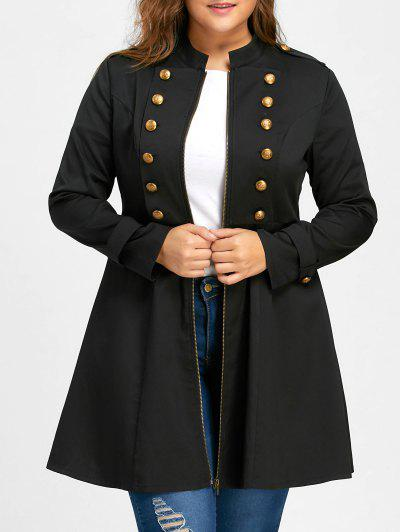 Plus Size Double Breasted Flare Coat - Black Xl