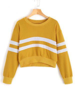 Casual Crop Striped Sweatshirt - Yellow M