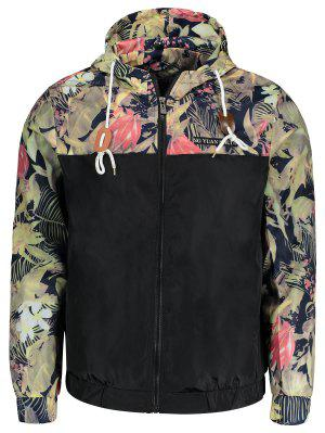 Plant Print Hooded Windbreaker Jacket Men Clothes