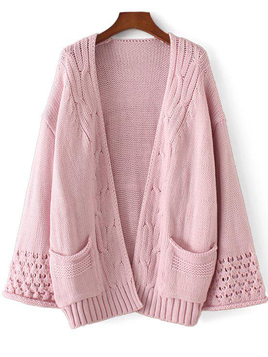 Open Front Cable Knit Panel Cardigan 229330201
