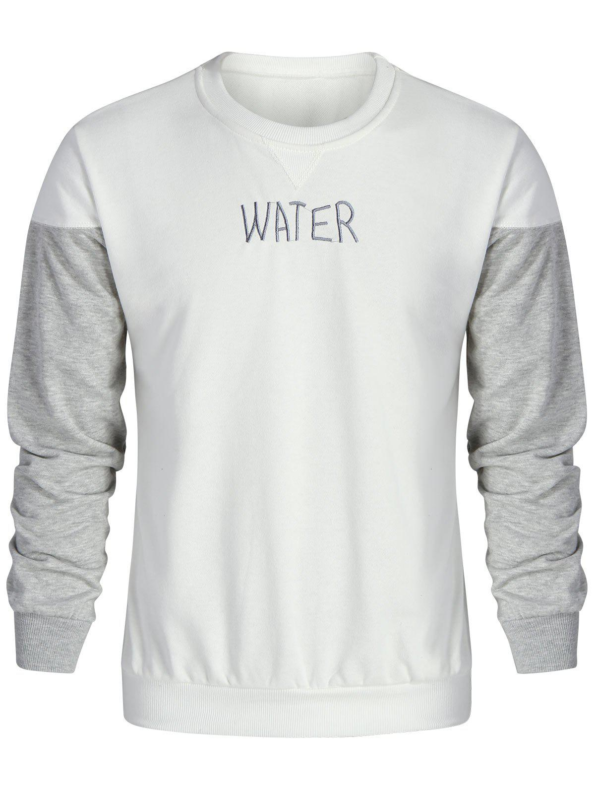 Water Embroidered Color Block Sweatshirt 229366002
