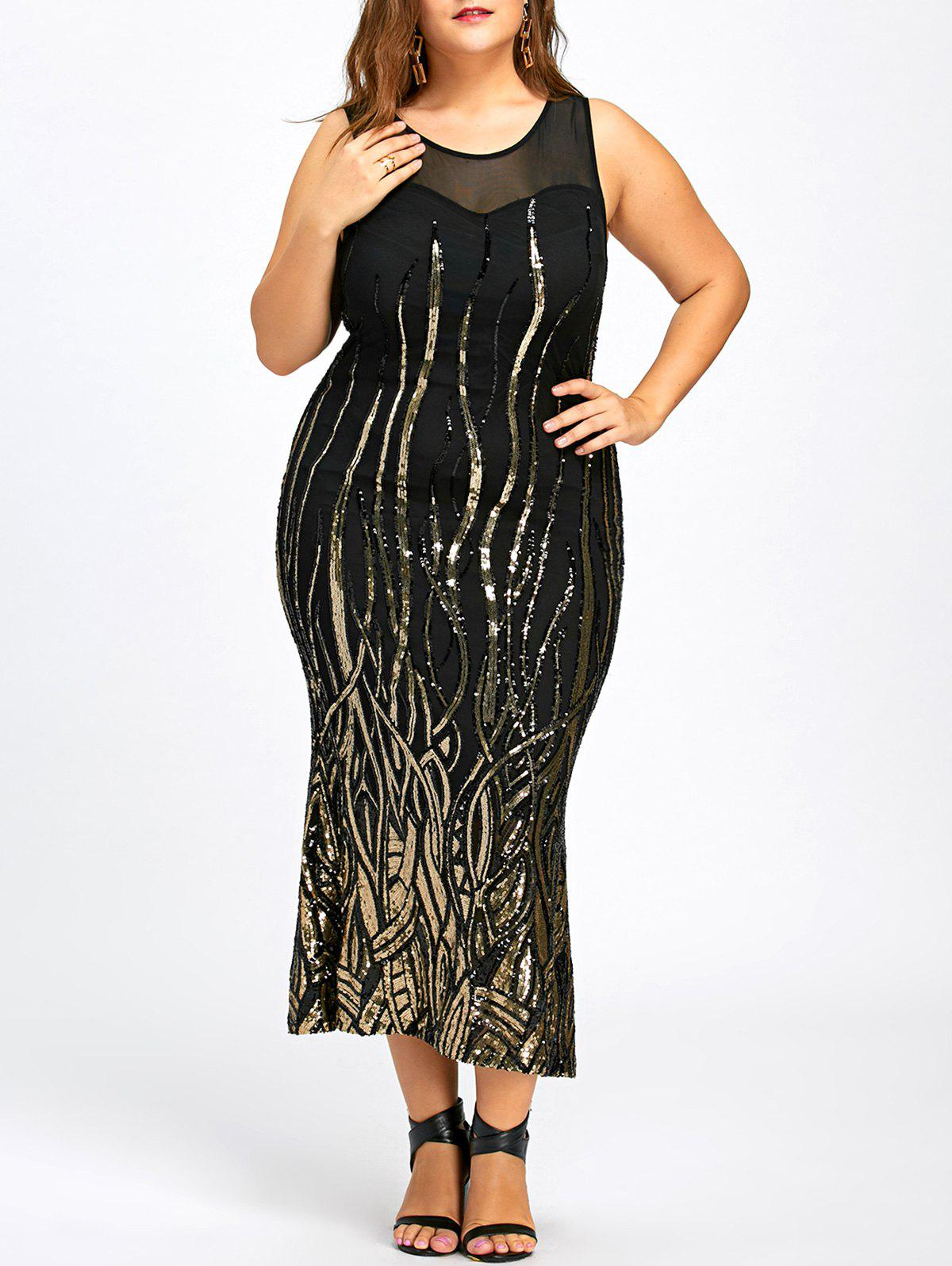 Sequin Plus Size Mesh Panel Party Dress 226121104
