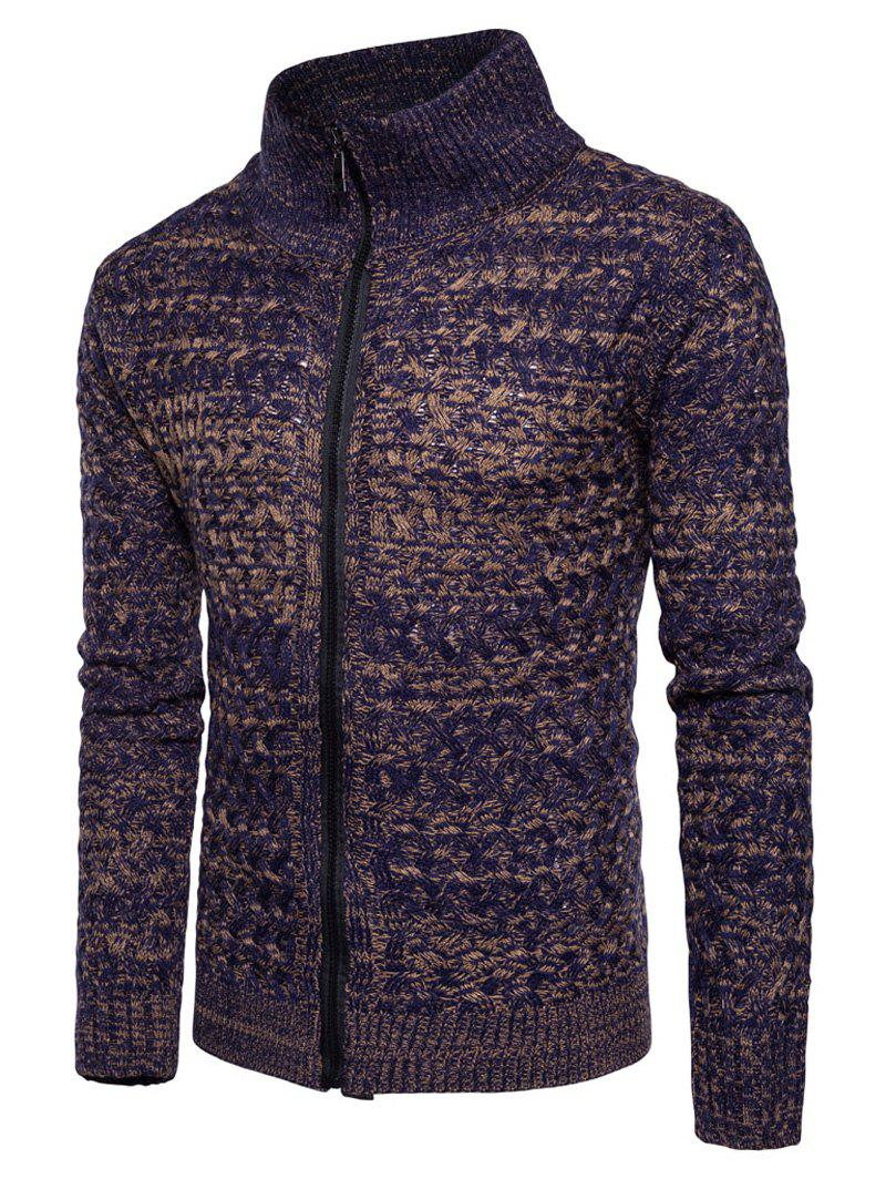 Turtle Neck Knit Blends Zip Up Sweater 229247406