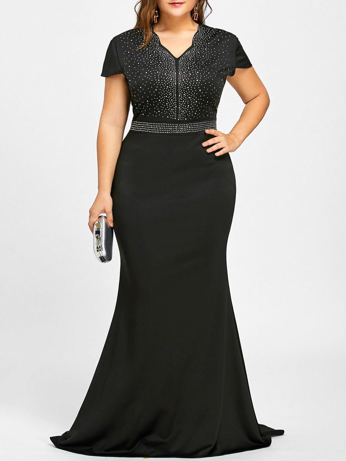 High Low Rhinestone Embellished Plus Size Dress