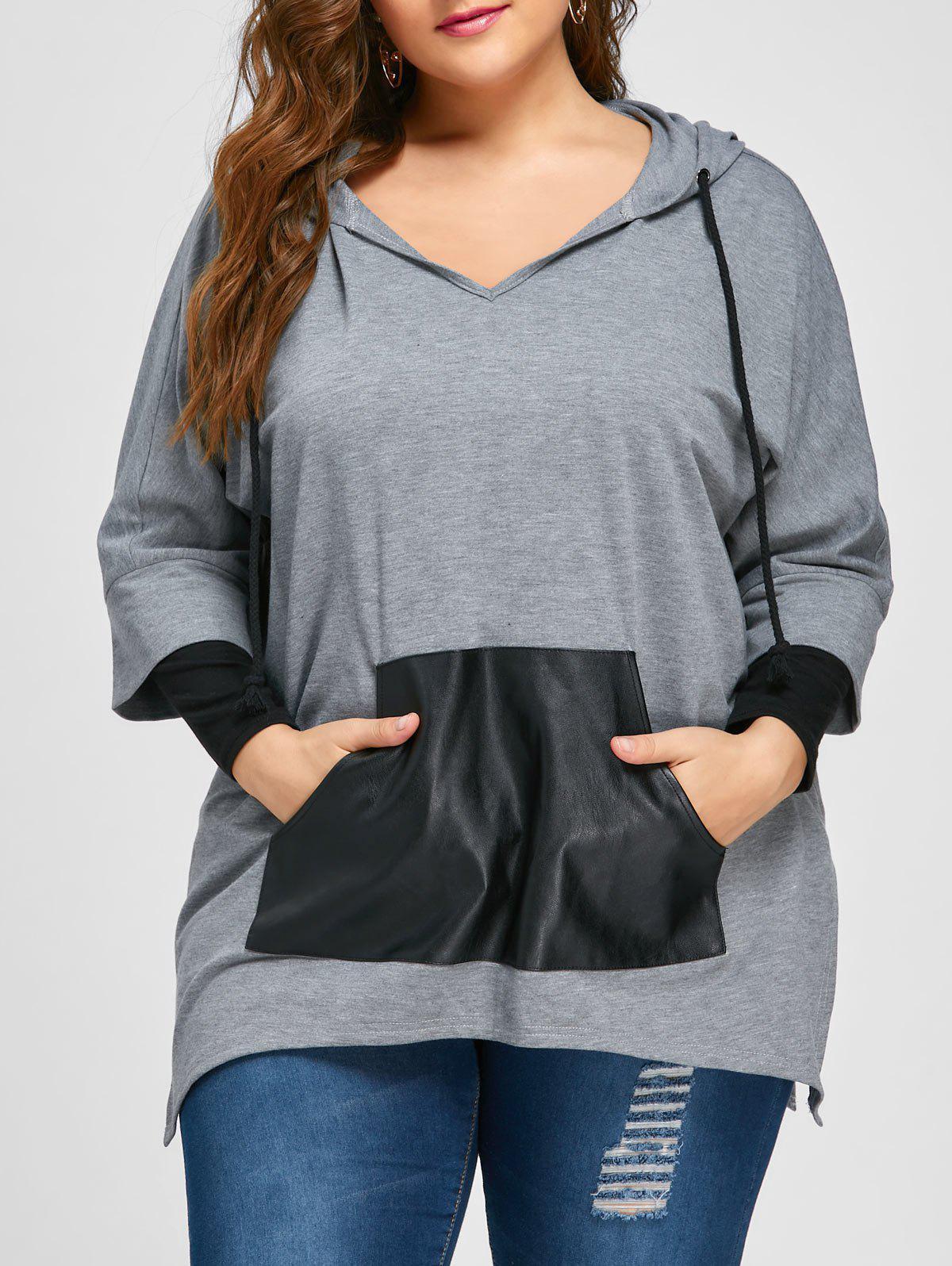Plus Size Kangaroo Pocket Side Slit Hoodie 225574005