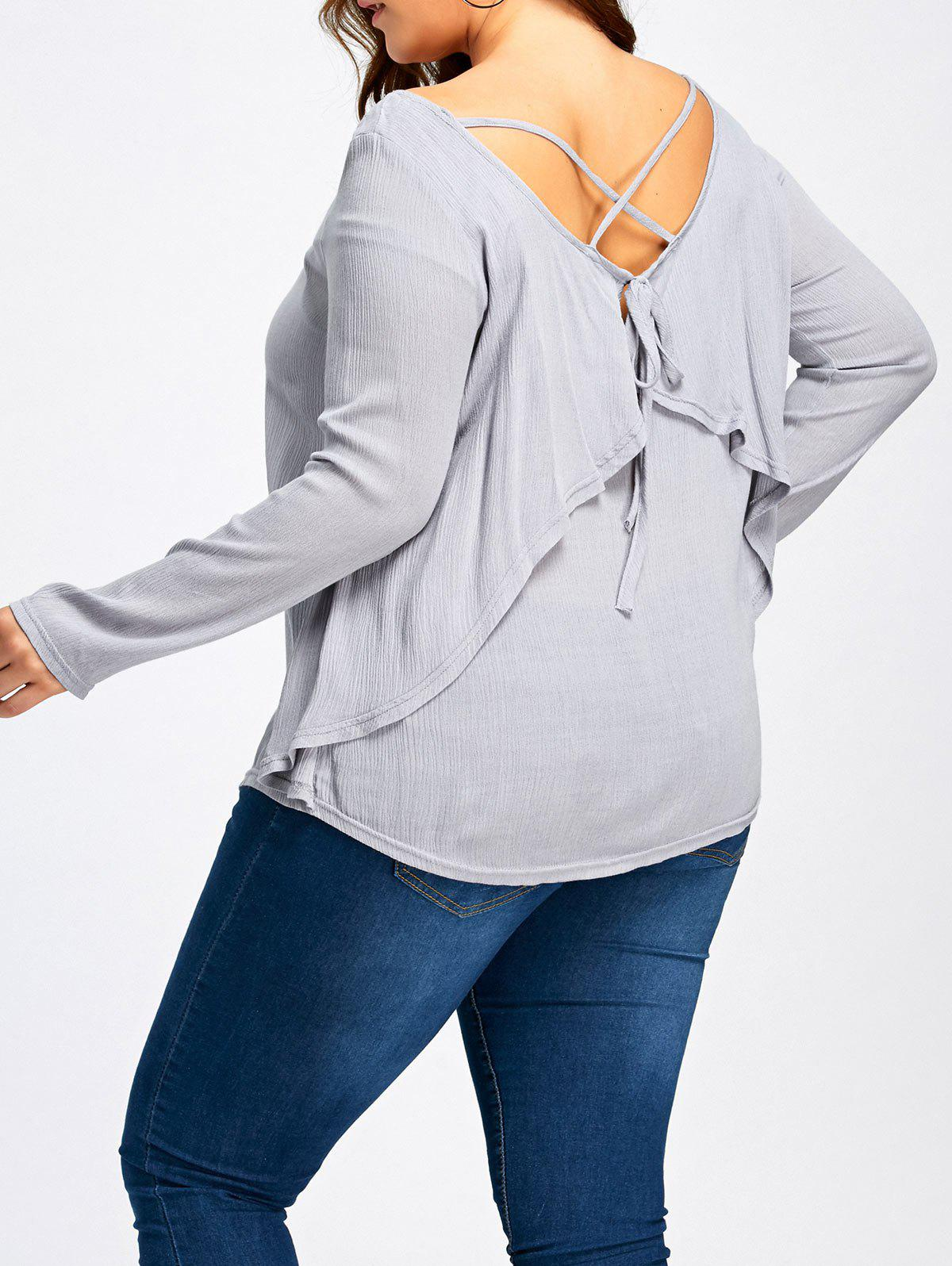 Plus Size Criss Cross Ruffle Bluse