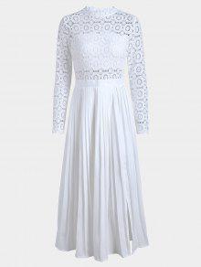 فستان مطوي بلون واحد دانتيل انقسام - أبيض L