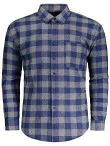 جيب الفانيلا منقوشة قميص - مربع النقش 2xl