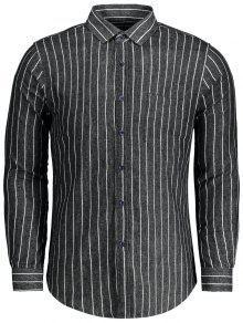 مخطط الفانيلا جيب قميص - أسود 4xl