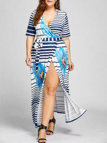 Plus Size Stripe Floral Maxi High Slit Dress - Azul 2xl