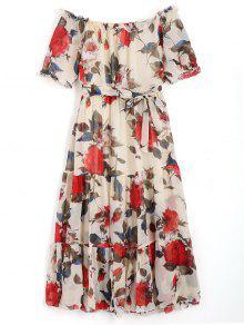 فستان بلا اكتاف ميدي طباعة الأزهار - الأزهار L