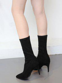 38% OFF  2019 Pointed Toe Stiletto Mid Calf Boots In BLACK 37  594e7707d