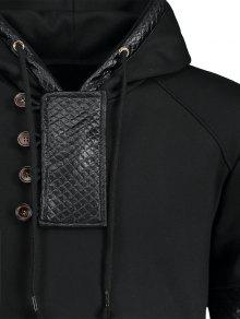 Leather Panel Fleece Negro Faux Hoodie 2xl aAWZFWn