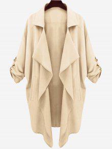 Drop Shoulder Asymmetric Draped Trench Coat