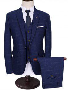 جيب وظيفي واحد 3 قطعة بدلة الأعمال - أزرق 3xl
