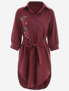 Robe Haut-Bas Ceinturée à Fleurs Brodées - Rouge Foncé S