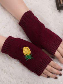 Gants En Tricot Fingerless à La Broderie à L'ananas Halloween - Rouge Vineux