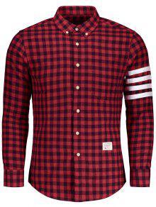 زر أسفل قميص منقوشة - أحمر L