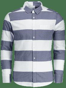 Abotonada Y Camisa L Azul Rayas Con Blanco qAq4g6Eax
