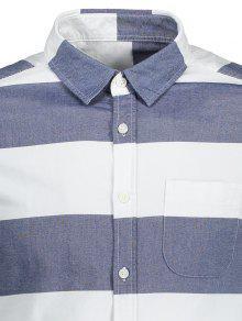 L Camisa Azul Blanco Y Abotonada Rayas Con xYqwHY1O