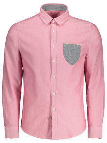 Botón Encima De La Camisa Del Bolsillo - Rosado Claro L
