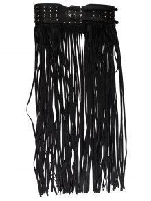 برشام مزين تنورة طويلة الشرابة تنورة - أسود