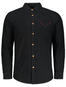 زر أسفل جيب عادي قميص - أسود 4xl