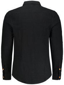 Con Camisa Bolsillo 4xl Negro Botones De HFFqxaE