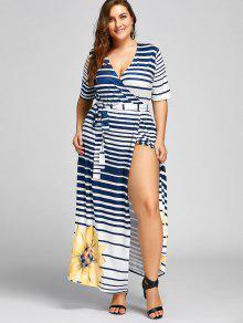 2019 Plus Size Stripe Floral Maxi High Slit Dress In YELLOW 5XL  cf713a9c6