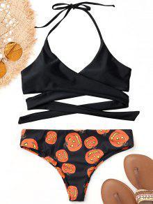 Bikini De Abrigo De Calabaza De Halloween Halter - Negro S