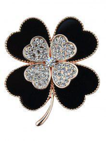 حجر الراين سبيكة الزهور الحب القلب بروش - أسود