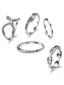 حجر الراين دائرة الكفة خاتم مجموعة -