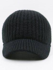 9cdf18676bf 32% OFF  2019 Plain Ribbed Knit Baseball Hat In BLACK
