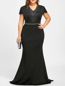 فستان رسمي الحجم الكبير ماكسي حجر الراين - أسود 2xl
