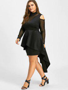 Plus Size Mesh Panel High Low Bodycon Dress BLACK: Plus Size ...