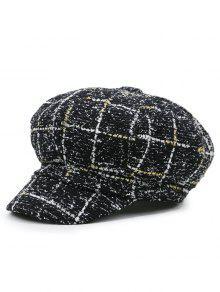 شبكة نمط عارضة نيسبوي قبعة - أسود