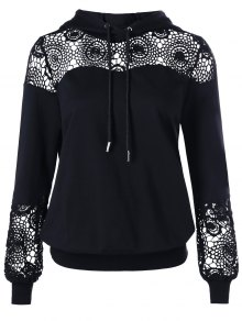 Cordón De Encaje De Encaje De Crochet Con Capucha - Negro M