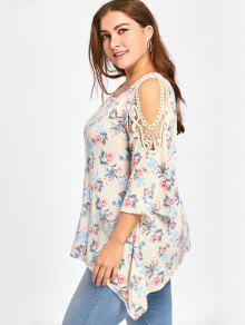 a3dfaa3ed6d 58% OFF  2019 Plus Size Tiny Floral Cold Shoulder Top In PALOMINO ...