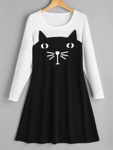 القط اثنين لهجة فستان عارضة - أسود L