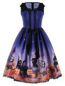 Vestido De Noche De Halloween Con Cintas Y Aretes - Azul 2xl