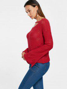 Open Knit Flare Sleeve Keyhole Sweater RED: Sweaters L | ZAFUL