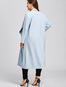 68d9e174937 31% OFF  2019 Plus Size Longline Waterfall Trench Coat In LIGHT BLUE ...