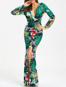 فستان ماكسي غارق الرقبة عالية انقسام - Xl